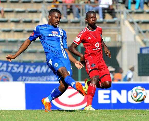 Enocent Mkhabela of Supersport United challenged by Sifiso Myeni of Orlando Pirates  during the Absa Premiership football match between Supersport United and Orlando Pirates at the Lucas Moripe Stadium, Pretoria on o5 April 2014