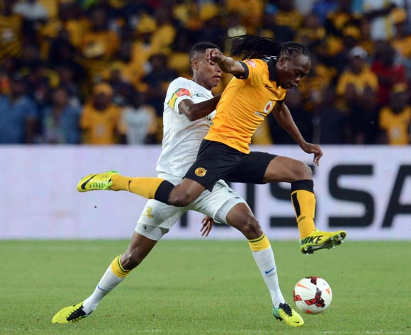 Bongani Zungu of Mamelodi Sundowns battles with Reneilwe Letsholonyane of Kaizer Chiefs during the Absa Premiership match between Kaizer Chiefs and Mamelodi Sundowns on the 05 of April 2014 at FNB Stadium