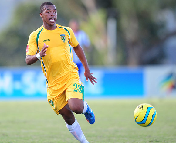 Thembela Sikhakhane of Golden Arrows during the Absa Premiership 2013/14 football match between Maritzburg United v Golden Arrows at the Harry Gwala Stadium in Pietermaritzburg , Kwa-Zulu Natal on the 6th of April 2014