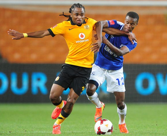 Siphiwe Tshabalala of Kaizer Chiefs battles with Themba Zwane of Black Aces during the Absa Premiership 2013/14 match between Kaizer Chiefs and Black Aces at FNB Stadium in Johannesburg on the 09 April 2014