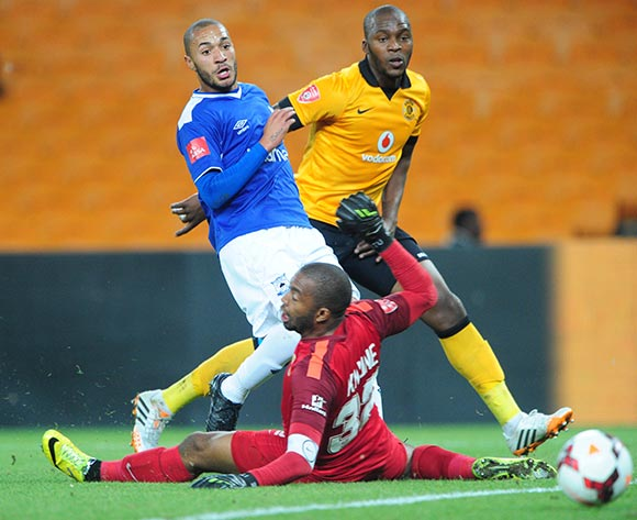Miguel Timm of Black Aces scores his goal against Itumeleng Khune of Kaizer Chiefs  during the Absa Premiership 2013/14 match between Kaizer Chiefs and Black Aces at FNB Stadium in Johannesburg on the 09 April 2014