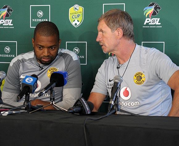 Stuart Baxter, coach of Kaizer Chiefs with Itumeleng Khune during the 2014 Nedbank Cup Chiefs Training and Press Conference at Chiefs Village in Johannesburg on the 10 April 2014