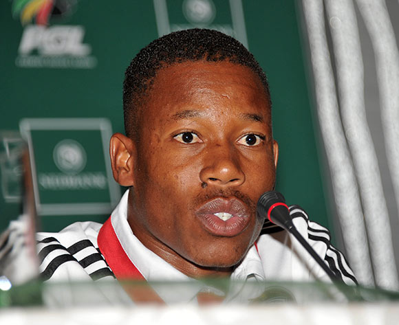 Happy Jele of Orlando Pirates during the Mamelodi Sundowns Nedbank Cup Press Conference on the 10 April 2014 at PSL Offices