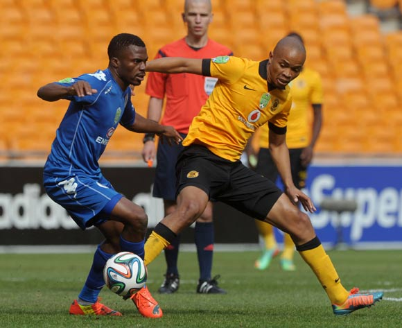 Enocent Mkhabela of Supersport United challenged by Siyabonga Nkosi of Kaizer Chiefs during the 2014 Nedbank Cup match between Kaizer Chiefs and Supersport United at FNB Stadium in Johannesburg on the 12 April 2014
