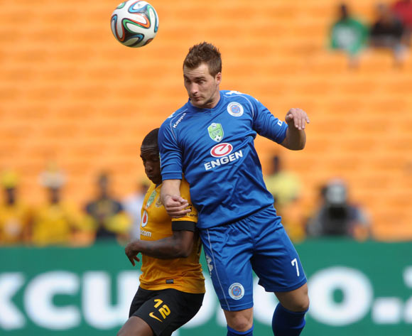 Bradley Grobler of Supersport United battles with George Maluleka of Kaizer Chiefs during the 2014 Nedbank Cup match between Kaizer Chiefs and Supersport United at FNB Stadium in Johannesburg on the 12 April 2014