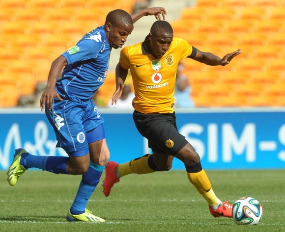George Maluleka of Kaizer Chiefs challenged by Lebogang Manyama of Supersport United during the 2014 Nedbank Cup match between Kaizer Chiefs and Supersport United at FNB Stadium in Johannesburg on the 12 April 2014