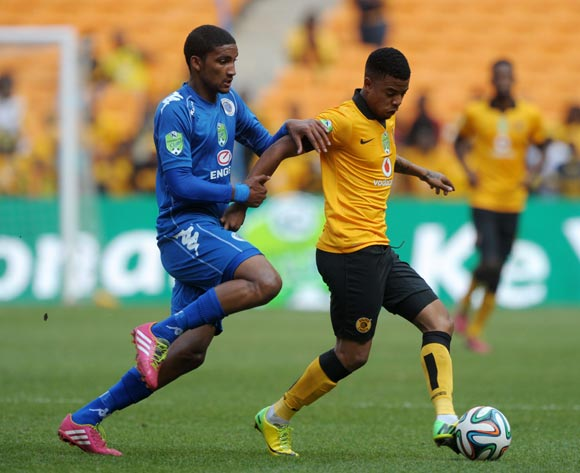 George Lebese of Kaizer Chiefs challenged by Morne Nel of Supersport United during the 2014 Nedbank Cup match between Kaizer Chiefs and Supersport United at FNB Stadium in Johannesburg on the 12 April 2014