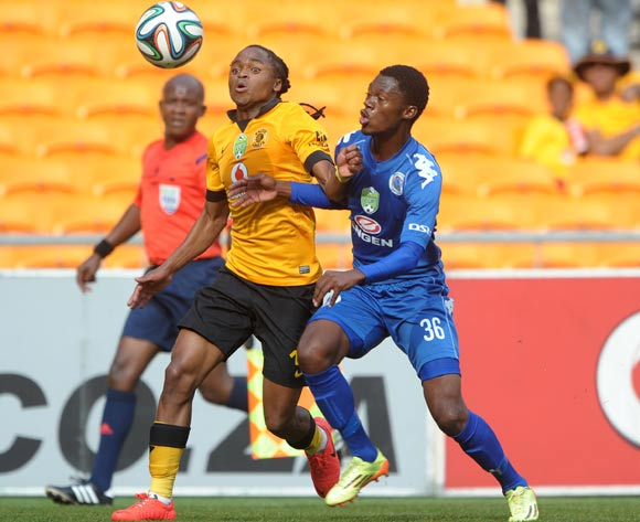 Siphiwe Tshabalala of Kaizer Chiefs challenged by Thato Mokeke of Supersport United during the 2014 Nedbank Cup match between Kaizer Chiefs and Supersport United at FNB Stadium in Johannesburg on the 12 April 2014