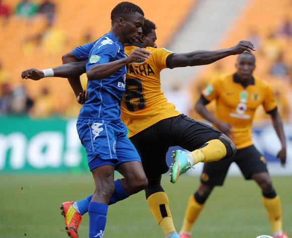 Kingston Nkhatha of Kaizer Chiefs battles with Enocent Mkhabela of Supersport United during the 2014 Nedbank Cup match between Kaizer Chiefs and Supersport United at FNB Stadium in Johannesburg on the 12 April 2014