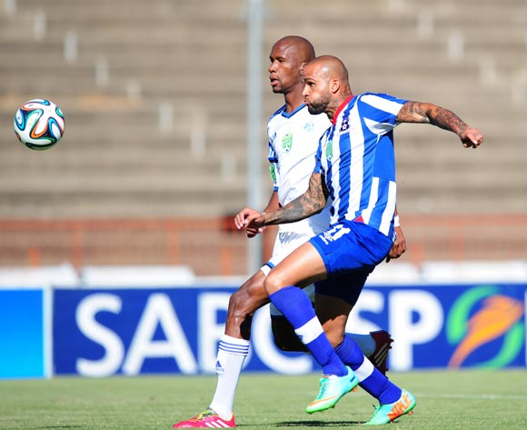 Orlando Smeekes of Maritzburg United and Gift Sithole of African Warriors during 2014 Nedbank Cup Last 8 football match between African Warriors and Maritzburg United at the Charles Mopeli Stadium in Qwa-Qwa , Free State on the 12th of April 2014