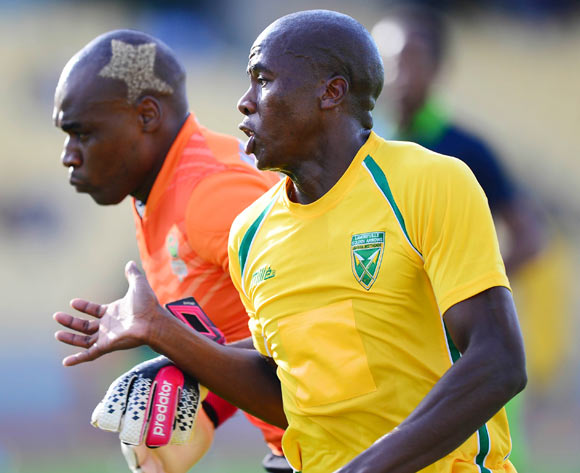 Bongi Ntuli of Golden Arrows beats Siyabonga Mpontshane of Platinum Stars to score a goal during the Absa Premiership match between Platinum Stars and Golden Arrows at the Royal Bafokeng Stadium in Rustenburg, on April 19, 2014