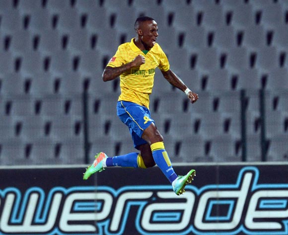 Teko Modise of Mamelodi Sundows celebrates his team first goal during the Absa Premiership match between Moroka Swallows and Mamelodi Sundowns on the 19 of April 2014 at Dobsonville Stadium