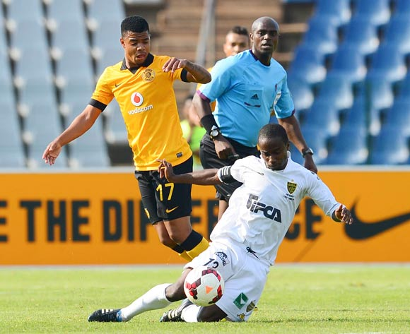 George Lebese of Kaizer Chiefs and Hugues Zagbayou of ASEC Mimosas during the 2014 CAF Confederations Cup football match between Kaizer Chiefs and ASEC Mimosas at Dobsonville Stadium, in Soweto, South Africa on April 20, 2014