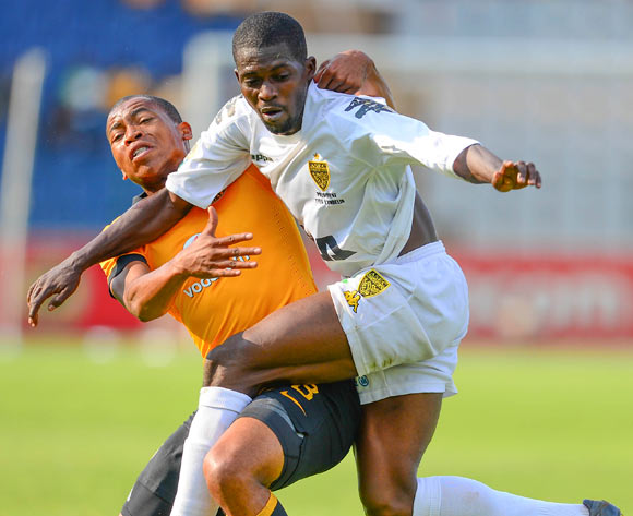Ibrahima Fofana of ASEC Mimosas and Simphiwe Mtsweni of Kaizer Chiefs during the 2014 CAF Confederations Cup football match between Kaizer Chiefs and ASEC Mimosas at Dobsonville Stadium, in Soweto, South Africa on April 20, 2014