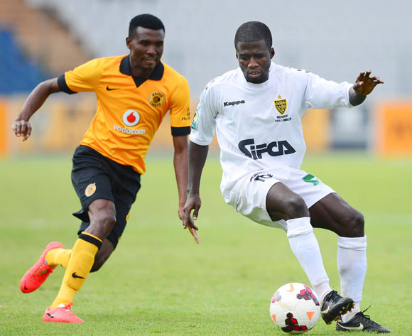 Mark Sekyere of ASEC Mimosas and Lucky Baloyi of Kaizer Chiefs during the 2014 CAF Confederations Cup football match between Kaizer Chiefs and ASEC Mimosas at Dobsonville Stadium, in Soweto, South Africa on April 20, 2014