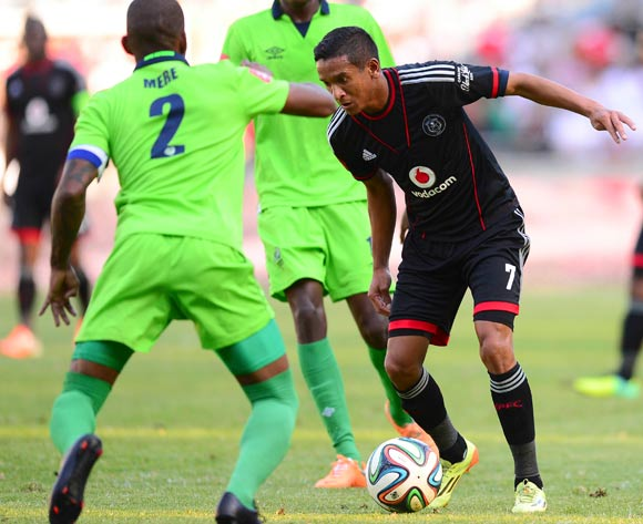 Daine Klate of Orlando Pirates and Vuyo Mere of Platinum Stars during the 2014 Absa Premiership football match between Orlando Pirates and Platinum Stars at Orlando Stadium, in Soweto, South Africa on April 26, 2014