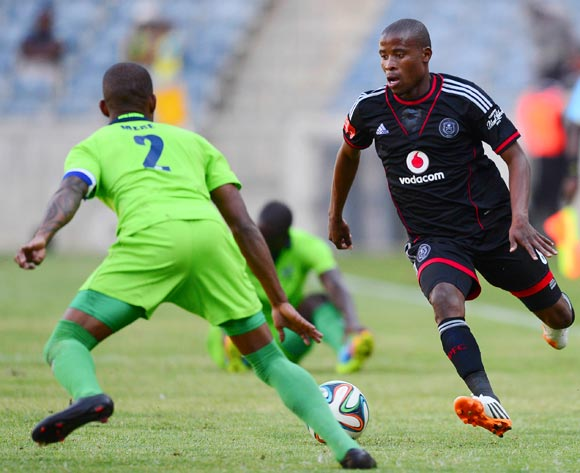 Thabo Matlaba of Orlando Pirates and Voyu Mere of Platinum Stars during the 2014 Absa Premiership football match between Orlando Pirates and Platinum Stars at Orlando Stadium, in Soweto, South Africa on April 26, 2014