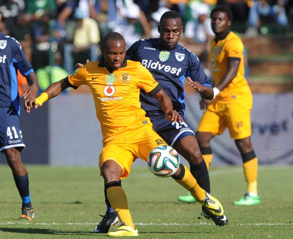 Bernard Parker of Kaizer Chiefs challenged by Onismor Bhasera of Bidvest Wits during the 2014 Nedbank Cup match between Bidvest Wits and Kaizer Chiefs at Bidvest Stadium in Johannesburg on the 03 May 2014
