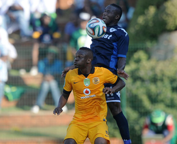 Onismor Bhasera of Bidvest Wits battles with Siboniso Gaxa of Kaizer Chiefs  during the 2014 Nedbank Cup match between Bidvest Wits and Kaizer Chiefs at Bidvest Stadium in Johannesburg on the 03 May 2014