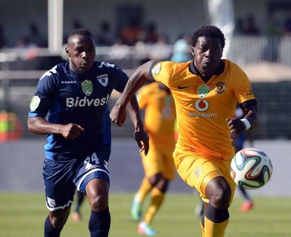 Kingston Nkhatha of Kaizer Chiefs battles with Onismor Bhasera of Bidvest Wits during the Nedbank Cup Semi Final match between Bidvest Wits and Kaizer Chiefs  on the 03 of May 2014 at Bidvest Stadium