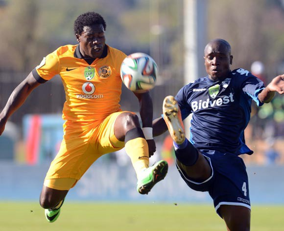 Kingston Nkhatha of Kaizer Chiefs battles with S'boniso Gumede of Bidvest Wits during the Nedbank Cup Semi Final match between Bidvest Wits and Kaizer Chiefs  on the 03 of May 2014 at Bidvest Stadium