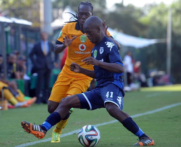 Reneilwe Letsholonyane of Kaizer Chiefs battles with Phumlani Ntshangase of Bidvest Wits during the Nedbank Cup Semi Final match between Bidvest Wits and Kaizer Chiefs  on the 03 of May 2014 at Bidvest Stadium