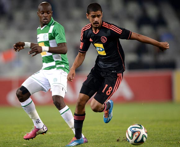Abbubaker Mobara of Ajax Cape Town and Lerato Lamola of Bloemfontein Celtic during the Absa Premiership match between Bloemfontein Celtic FC and Ajax at the Free State Stadium on 6 May 2014