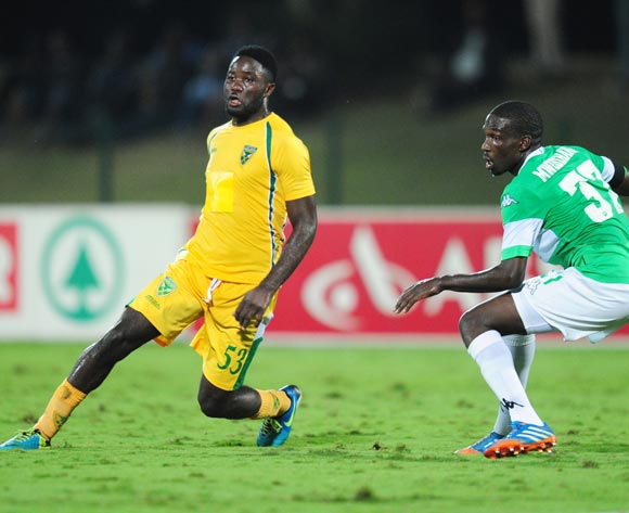 Festus Mbewe of Golden Arrows and Willem Mwedihanga of AmaZulu during the Absa Premiership 2013/14 football match between AmaZulu and Golden Arrows at the Princess Magogo Stadium in Durban , Kwa-Zulu Natal on the 6th of May 2014