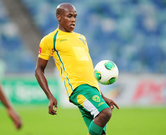 Bongi Ntuli of Golden Arrows during the Absa Premiership 2013/14 football match between Golden Arrows and Orlando Pirates at the Moses Mabhida Stadium in Durban , Kwa-Zulu Natal on the 10th of May 2014