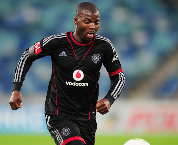 Rooi Mahamutsa of Orlando Pirates during the Absa Premiership 2013/14 football match between Golden Arrows and Orlando Pirates at the Moses Mabhida Stadium in Durban , Kwa-Zulu Natal on the 10th of May 2014