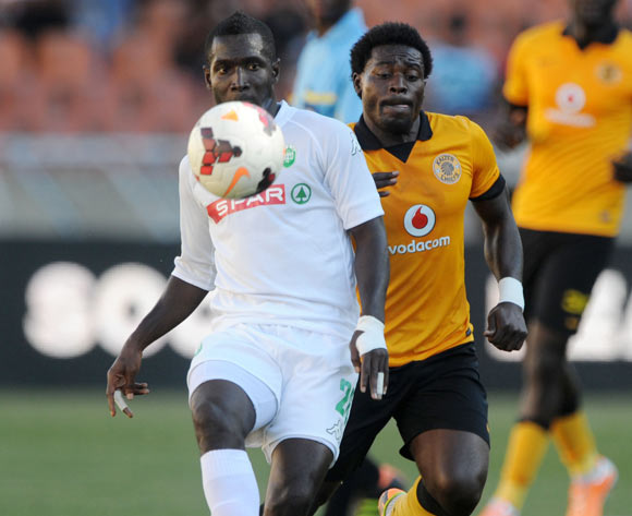 John Arwuah of AmaZulu challenged by Kingston Nkhatha of Kaizer Chiefs  during the Absa Premiership 2013/14 match between Kaizer Chiefs and AmaZulu at Peter Mokaba Stadium in Polokwane on the 10 May 2014