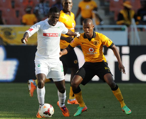 John Arwuah of AmaZulu challenged by Mandla Masango of Kaizer Chiefs  during the Absa Premiership 2013/14 match between Kaizer Chiefs and AmaZulu at Peter Mokaba Stadium in Polokwane on the 10 May 2014