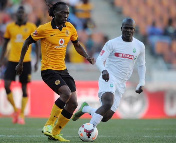 Reneilwe Letsholonyane of Kaizer Chiefs challenged by Goodman Dlamini of Amazulu during the Absa Premiership 2013/14 match between Kaizer Chiefs and AmaZulu at Peter Mokaba Stadium in Polokwane on the 10 May 2014