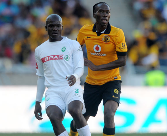 Goodman Dlamini of Amazulu challenged by Reneilwe Letsholonyane of Kaizer Chiefs  during the Absa Premiership 2013/14 match between Kaizer Chiefs and AmaZulu at Peter Mokaba Stadium in Polokwane on the 10 May 2014