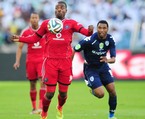 Rooi Mahamutsa of Orlando Pirates  and Sthembiso Ngcobo of Bidvest Wits during the 2014 Nedbank Cup Final football match between Orlando Pirates and Bidvest Wits at the Moses Mabhida Stadium in Durban on the 17th of  May 2014