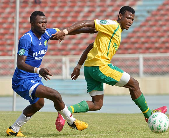Shehu Abdullahi (right) in action for Pillars recently/Kabiru Abubakar@backpagepix