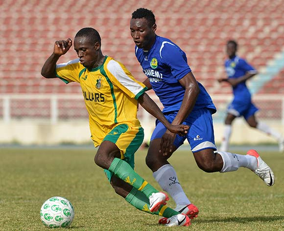 Pillars winger Philip Auta goes for goal