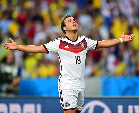 Germany's Mario Gotze celebrates scoring the opening goal