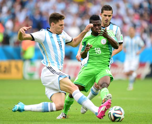 Nigeria's Michael Babatunde (right) vs Argentina on Wednesday