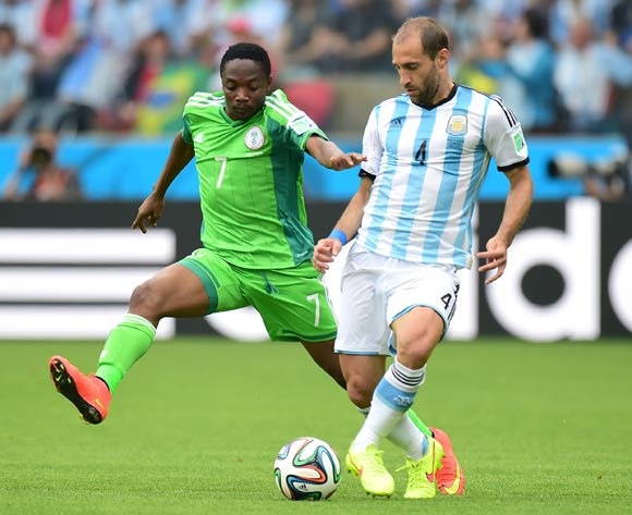 Nigeria's Ahmed Musa (left) and Argentina's Pablo Zabaleta battle for the ball