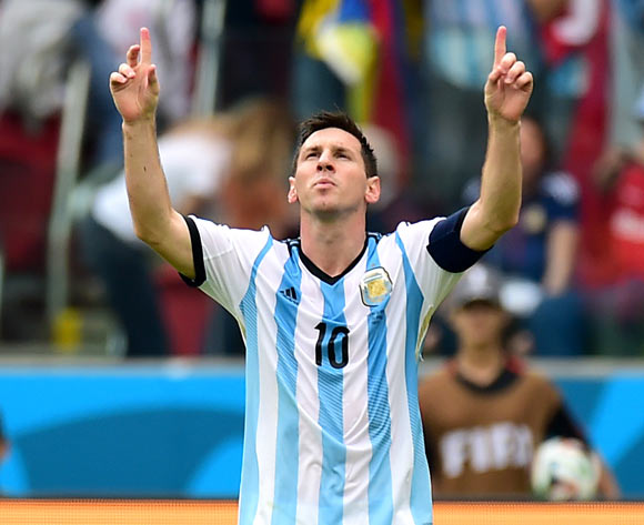 Argentina's Lionel Messi celebrates scoring his teams second goal of the game