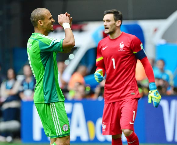 Peter Odemwingie of Nigeria reacts in disappointment after missed chance passed Hugo Lloris of France during the 2014 Brazil World Cup Final Last 16 football match between France and Nigeria at the Estadio Nacional Brasilia, Brazil on 30 June 2014