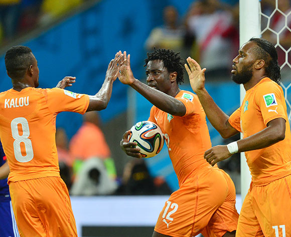 Wilfried Bony of Ivory Coast congratulated by Salomon Kalou and Didier Drogba during the 2014 Brazil World Cup Finals, Group C, football match between Ivory Coast and Japan at the Arena Pernambuco in Recife, Brazil on 14 June 2014 ©Gavin Barker/BackpagePix