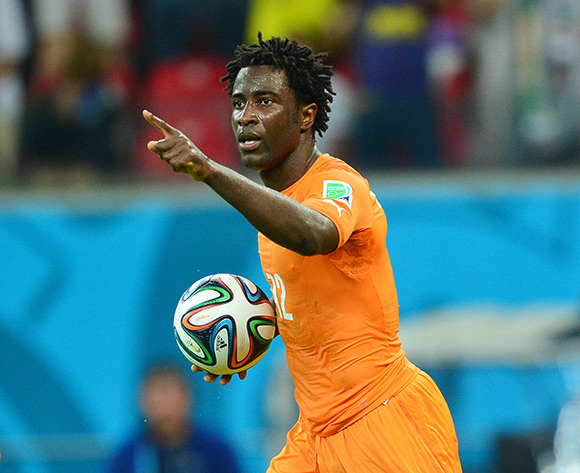 Wilfried Bony of Ivory Coast celebrates goal during the 2014 Brazil World Cup Finals, Group C, football match between Ivory Coast and Japan at the Arena Pernambuco in Recife, Brazil on 14 June 2014 ©Gavin Barker/BackpagePix