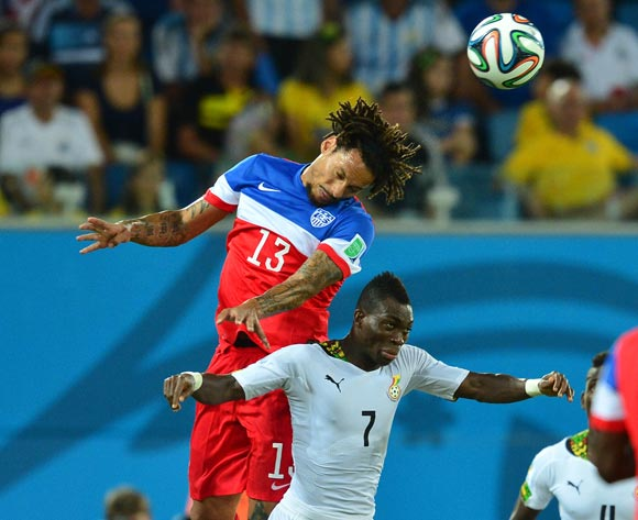 Jermaine Jones of the United States of America beats Christian Atsu of Ghana in the air during the 2014 Brazil World Cup Final Group G football match between Ghana and USA at the Estadio das Dunas in Natal, Brazil on 16 June 2014