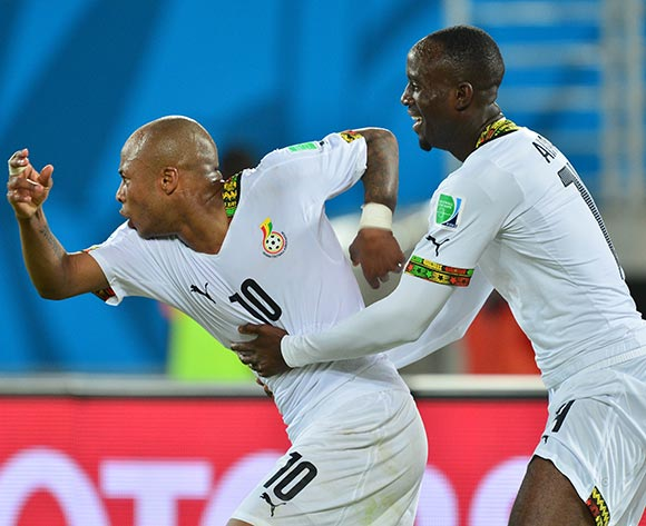 Andre Ayew of Ghana celebrates goal embraced by Albert Adomah of Ghana  during the 2014 Brazil World Cup Final Group G football match between Ghana and USA at the Estadio das Dunas in Natal, Brazil on 16 June 2014