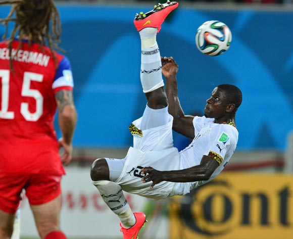 Jonathan Mensah of Ghana bicycle-kicks ball towards goal  during the 2014 Brazil World Cup Final Group G football match between Ghana and USA at the Estadio das Dunas in Natal, Brazil on 16 June 2014