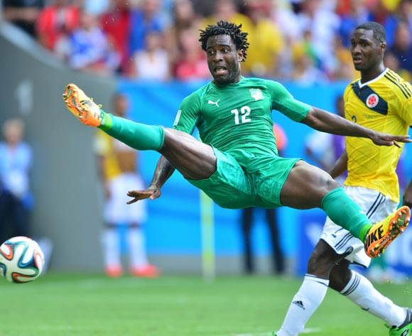 Wilfried Bony of Ivory Coast mis-times his shot during the 2014 Brazil World Cup Final Group C football match between Colombia and Ivory Coast at the Estadio Nacional Brasilia, Brazil on 19 June 2014