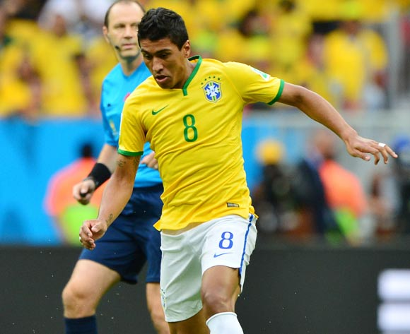 Paulinho of Brazil during the 2014 Brazil World Cup Final Group A football match between Cameroon and Brazil at the Estadio Nacional Brasilia, Brazil on 23 June 2014