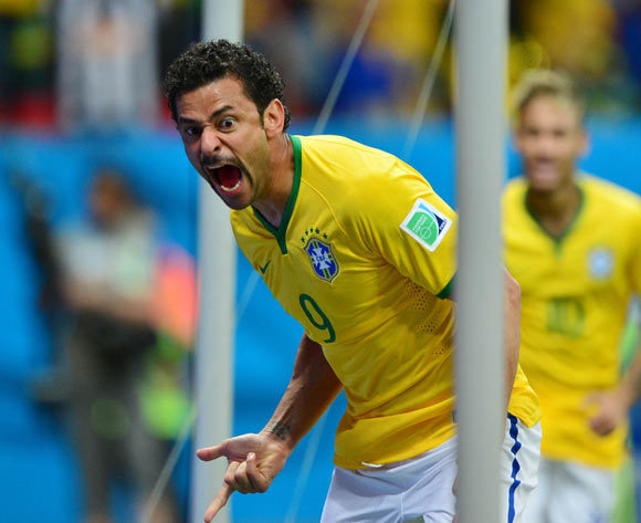 Fred of Brazil celebrates goal during the 2014 Brazil World Cup Final Group A football match between Cameroon and Brazil at the Estadio Nacional Brasilia, Brazil on 23 June 2014